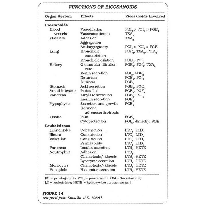Functions of Eicosanoids