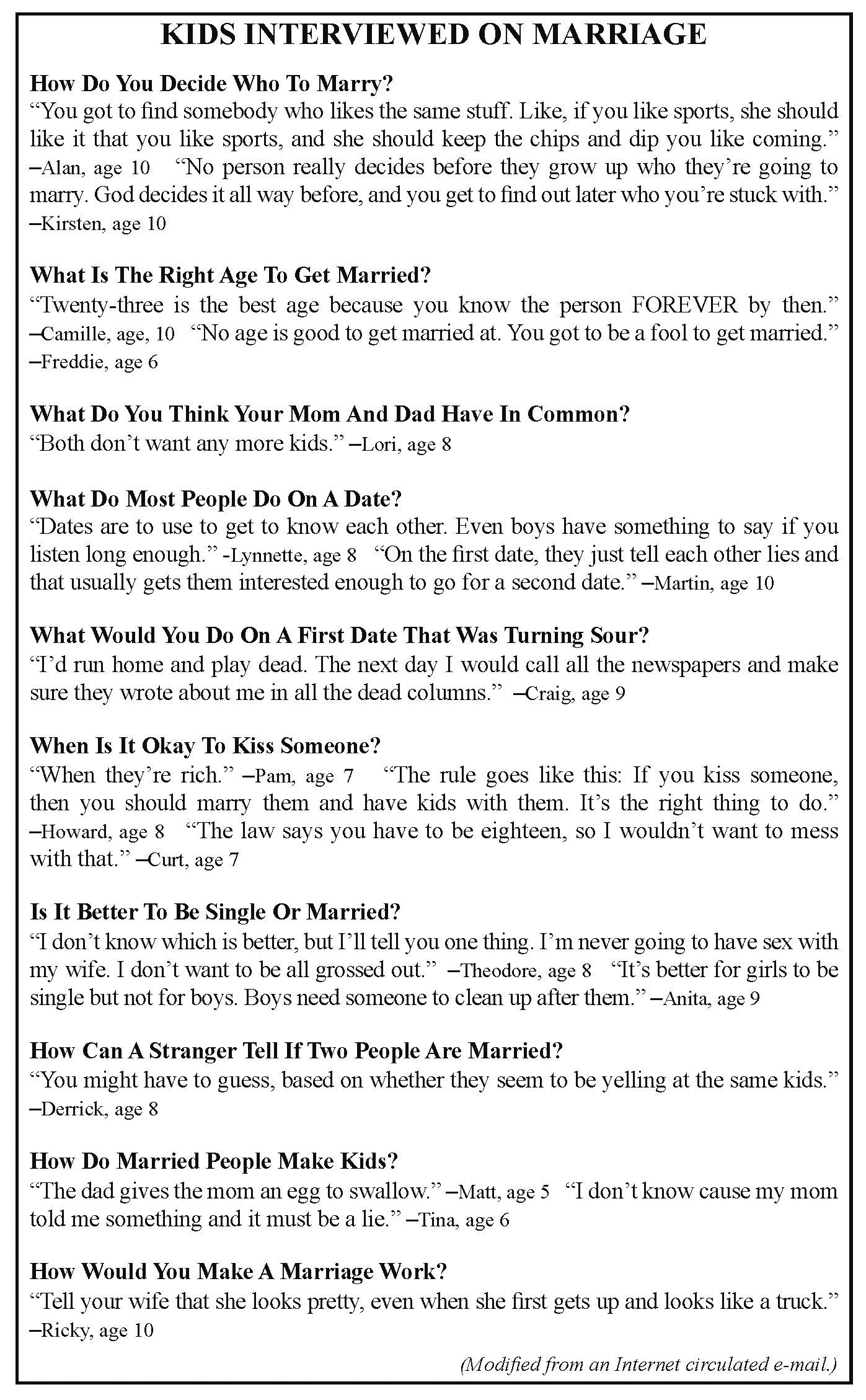Kids on Marriage